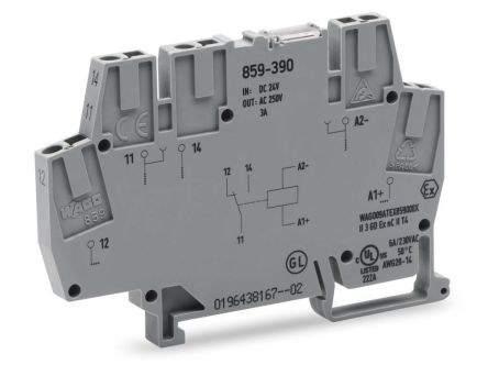 Wago 859 Series , 24V dc SPDT Interface Relay Module, Cage Clamp Terminal , DIN Rail