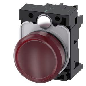 Siemens, 3SU1, Panel Mount Red LED Indicator, 22.3mm Cutout, IP20, IP66, IP67, IP69, IP69K, Round