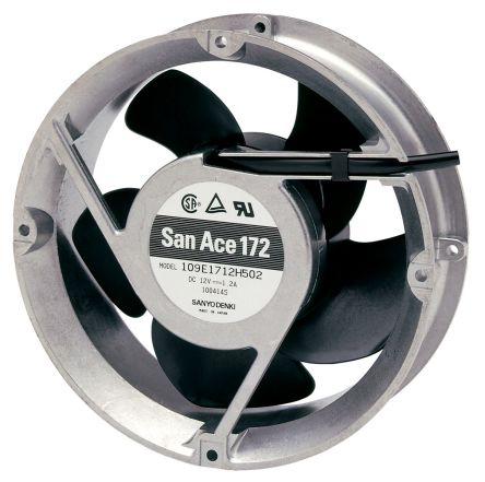 "109E Series Axial Fan, 172 (Dia.) <font face=""symbol"">´</font> 51mm, 300cfm, 31.2W, 24 V dc product photo"