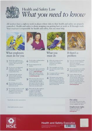 RS PRO Health & Safety Law Safety Poster, Plastic, English