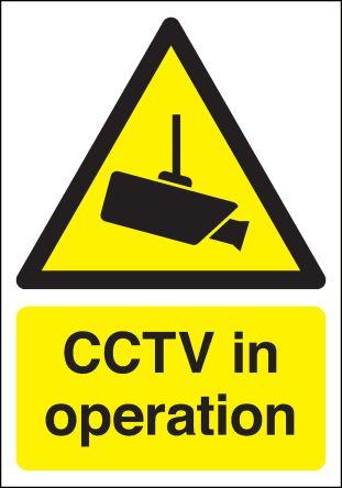 RS PRO Polypropylene Security Label, CCTV Sign, English, 210 mm x 148mm