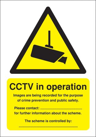 RS PRO Polypropylene Security Label, CCTV Sign, English, 210 mm x 148mm