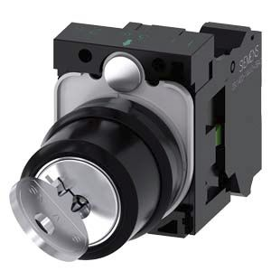 Siemens SIRIUS ACT 2 positions Metal, Plastic Cage Clamp Key Switch NO, 10 A 22.3mm IP20, IP66, IP67, IP69 2 Latching