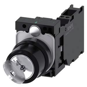 Siemens SIRIUS ACT 2 positions Metal, Plastic Cage Clamp Key Switch SPDT, 10 A 22.3mm IP20, IP66, IP67, IP69 500V 500V