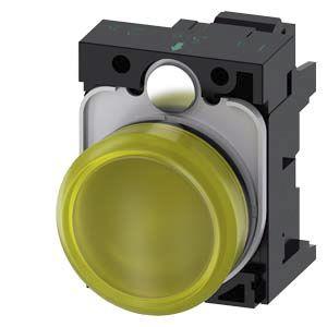 Siemens, 3SU1, Panel Mount Yellow LED Indicator, 22mm Cutout, IP20, IP66, IP67, IP69, Round