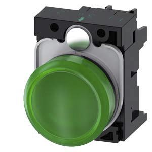 Siemens, 3SU1, Panel Mount Green LED Indicator, 22mm Cutout, IP20, IP66, IP67, IP69, Round