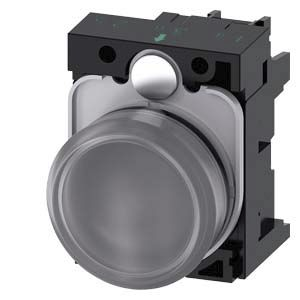 Siemens 3SU1 Clear LED Indicator, 22mm Cutout, IP20, IP66, IP67, IP69, Round, 110 V ac