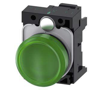 Siemens, 3SU1, Panel Mount Green LED Indicator, 22mm Cutout, IP20, IP66, IP67, IP69, Round