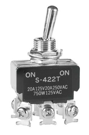 NKK Switches Double Pole Double Throw (DPDT) Toggle Switch, Latching, Panel Mount