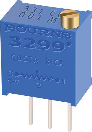 100kΩ, Through Hole Trimmer Potentiometer 0.5W Top Adjust Bourns, 3299
