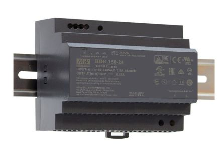 Mean Well HDR-150, DIN Rail Power Supply - 85 → 264V ac Input Voltage, 24V dc Output Voltage, 6.25A Output