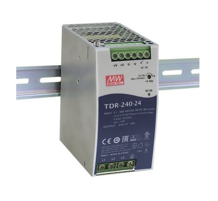 Mean Well DIN Rail Power Supply - 340 → 550V ac Input Voltage, 24V dc Output Voltage, 10A Output Current