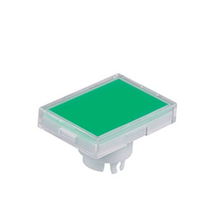 Green/Clear Push Button Cap, for use with YB Series Pushbuttons, Rectangular Solid Cap