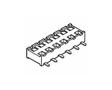 Amphenol FCI Minitek Series 91596 Series Number 2mm Pitch 6 Way 2 Row Vertical PCB Socket, Surface Mount, Solder