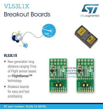 STMicroelectronics VL53L1X-SATEL, Breakout Board Breakout Board for VL53L1X for Integration into Customer Device