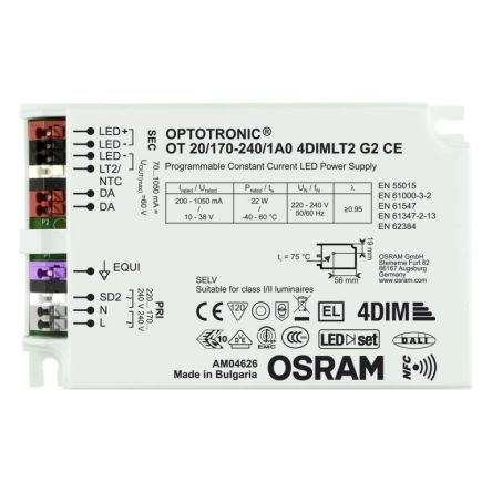 Osram 4052899981959 , Constant Current LED Driver 110W 80 → 220V 200 → 1050mA, OPTOTRONIC NFC Series