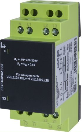 Tele Voltage Monitoring Relay With DPDT Contacts, 400/230 V ac Supply Voltage, 3 Phase