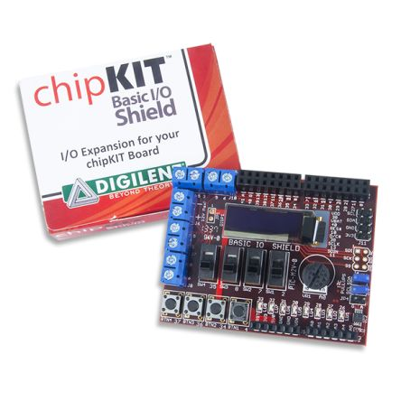 Development Kit Input/Output Expansion Add-on Board with OLED Display for use with Max32 Microcontroller Board, Uno32