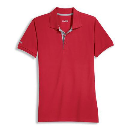 Uvex 8916 Red Unisex's Polyester, Tencel Polo, UK- L, EUR- L