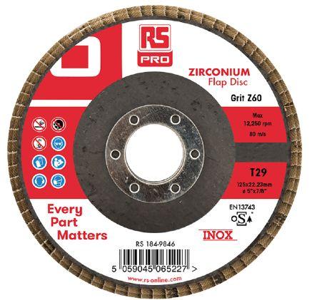 RS PRO Zirconium Dioxide Flap Disc, 125mm, P60