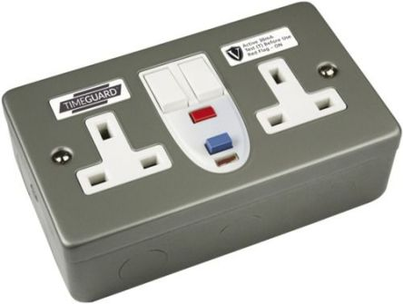 Theben / Timeguard 30A, BS Fixing, Active RCD Socket, Plastic, Surface Mount, Switched, 230V ac