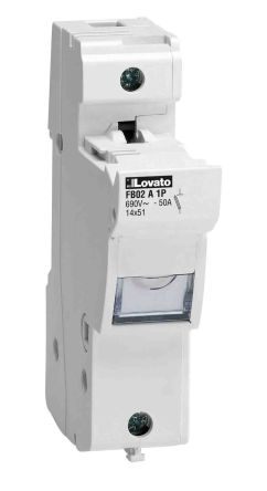 Lovato 50A Base Mount Cartridge Fuse Holder for 14 x 51mm Fuse, 690V ac