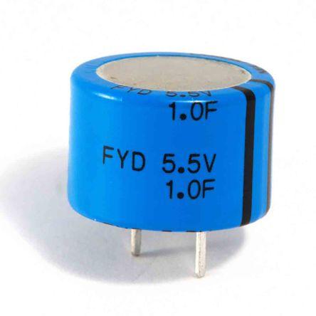 KEMET 0.047F Supercapacitor -20 → +80% Tolerance FYH Series 5.5V dc Through Hole
