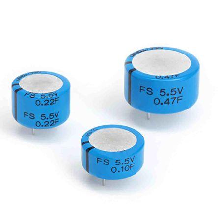KEMET 0.047F Supercapacitor -20 → +80% Tolerance FS Series 5.5V dc Through Hole