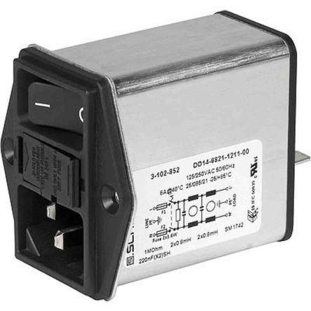 Schurter,6A,250 V ac Screw Mount Filtered IEC Connector 3-102-852