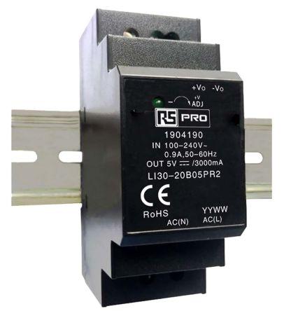 RS PRO DIN Rail Power Supply - 120 → 370 V dc, 85 → 264 V ac Input Voltage, 5V Output Voltage, 3A Output