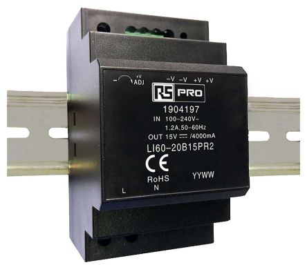 RS PRO DIN Rail Power Supply - 120 → 370 V dc, 85 → 264 V ac Input Voltage, 15V Output Voltage, 4A Output