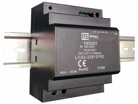 RS PRO DIN Rail Power Supply - 120 → 370 V dc, 85 → 264 V ac Input Voltage, 12V Output Voltage, 7.5A