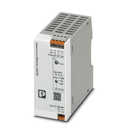 Phoenix Contact DIN Rail Power Supply, 12V dc Output Voltage, 7.5A Output Current