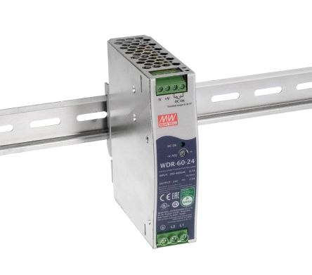Mean Well DIN Rail Power Supply - 180 → 550 V ac, 254 → 780 V dc Input Voltage, 12 V dc Output Voltage, 5