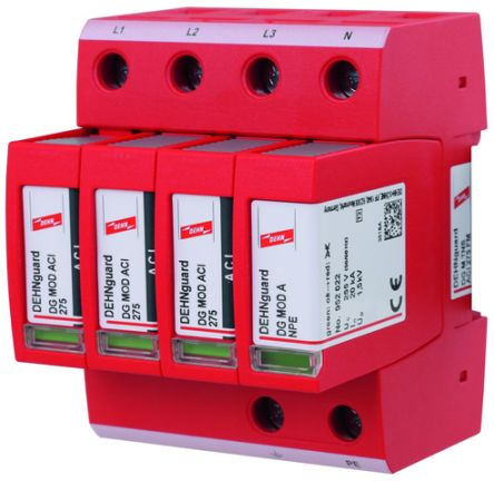 Dehn 275 V Maximum Voltage Rating Surge Arrester, DIN Rail Mounting