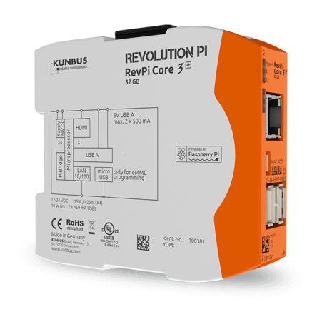 Kunbus Industrial Computer, 12  24 V dc, 10W, 1.2 GHz, 1 (RAM) GB, 8 (Flash) GB, Polycarbonate, IP20 Flash, RAM