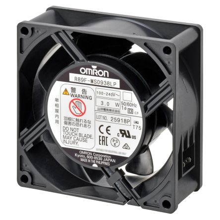 Omron, 100 → 240 V ac, AC Axial Fan, 92 x 92 x 38mm, 1.18m³/min, 3W