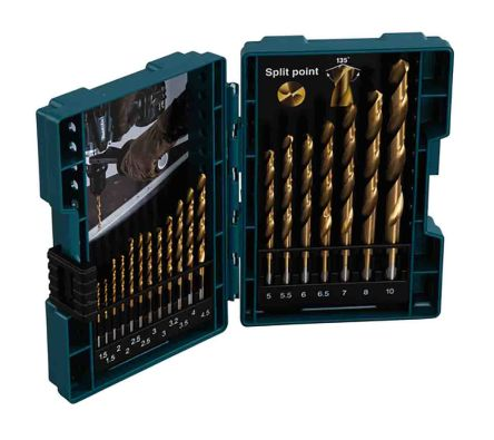 Makita 19 piece Metal Twist Drill Bit Set, 1.5mm to 10mm