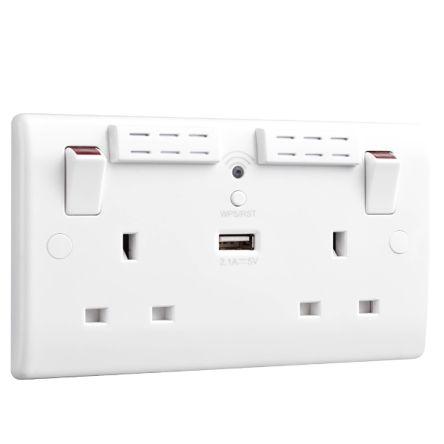 BG Electrical White 2 Gang Power Socket, 1 Pole, 13A, BS