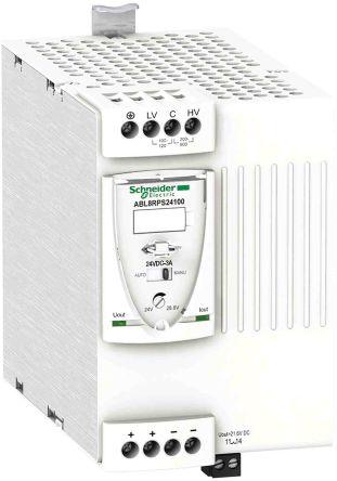 Schneider Electric ABL8, DIN Rail Power Supply - 100 → 120V Input Voltage, 24V Output Voltage, 10A Output Current