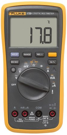 Fluke -17B+ Handheld Digital Multimeter, 10A ac 1000V ac 10A dc 1000V dc