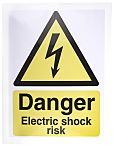 RS PRO Electricity Danger Label (English), Black/White/Yellow Self-Adhesive  Vinyl