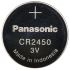 Panasonic Lithium Button Battery, CR2450, 3V, 24.5mm Diameter