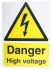 RS PRO Danger High Voltage Sign (English), Yellow/Black Plastic