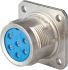 Jaeger 4 Way Panel Mount MIL Spec Circular Connector Receptacle, Pin Contacts, MIL-DTL-5015