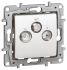 R, SAT, TV White Female 3 Outlet Socket, Flush Mount