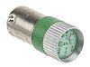 LED Reflector Bulb, BA9s, Green, Multichip, 10mm dia.,