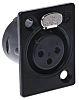 Neutrik 3 Way Panel Mount XLR Connector, Female,