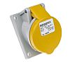 MENNEKES IP44 Yellow Panel Mount 3P Angled Industrial