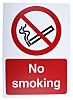 Plastic No Smoking Prohibition Sign, No Smoking, English